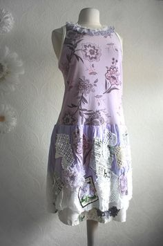 Up-cycled Women's Lavender Dress Shabby Chic Clothing Purple Drop Waist Floral Print Country Sundress
