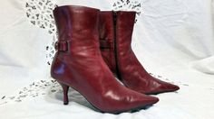 Size 6 Burgundy Leather Two Inch Heel by sistersvintageattic
