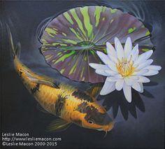 """Eggroll"" - Original Fine Art for Sale - © Leslie Macon 3d Resin Painting, Koi Painting, Koi Art, Fish Art, Koi Fish Tattoo, Koi Fish Pond, Wildlife Paintings, Buddha Art, Colorful Fish"
