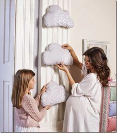 DIY shabby chic - nuvole stoffa+centrini - crochet ricamo