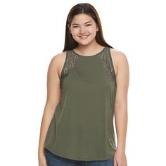 Juniors' Plus Size SO® Lace Trim Split-Back Tank, Teens, Size: 3XL, Dark Green