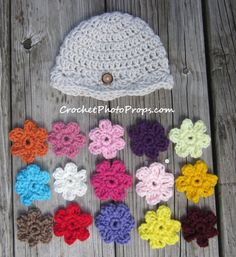 Baby Girl's Hat with 15 Interchangeable Crochet Flowers