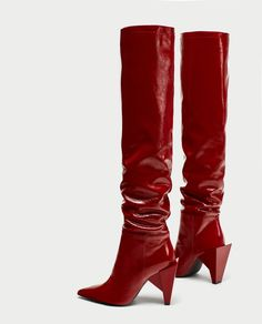PATENT LEATHER HIGH HEEL BOOTS