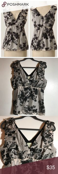 """anthropologie • weston wear floral blouse tank condition: excellent like new condition, never worn on my end, bought by never wore retail: $88 plus tax  * 20"""" across chest, 17.5"""" across waist, 26"""" length (measurements taken flat) * side zip  NO TRADES  trusted seller for years • ships quickly great feedback • REASONABLE offers welcome Anthropologie Tops Tank Tops"""
