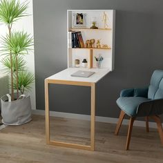 YUSONG Folding Wall Mounted Desk Drop Leaf Table, Wooden Wall Integrated Desk with Storage Shelves and Chalkboard, Space Saving Table for Study, Eating or Work, White Fold Out Desk, Fold Out Table, Folding Walls, Folding Desk, Murphy Desk, Murphy Table, Wall Mounted Table, Wall Mounted Desk Folding, Space Saving Table