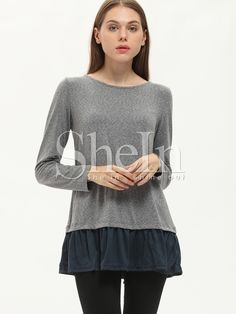 Grey Long Sleeve Color Block Bow Ruffle T-Shirt — 14.20 € -------color: Grey size: L,M,S,XS