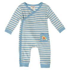 Frugi Βρεφικό Φορμάκι Κιμονό με Πουλάκι – Bluebell Stripe - Sunnyside