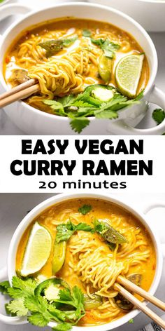 These Vegan Curry Ramen Noodles loaded with fresh veggies and rich curry flavors, you'll feel good about serving this meal to your family! Only 20 minutes is to make this healthy curry ramen noodle dinner on the table! Easy Main Dish Recipes, Vegan Recipes Easy, Veggie Recipes, Vegetarian Recipes, Dinner Recipes, Cooking Recipes, Healthy Vegan Meals, Ramen Noodle Recipes, Ramen Noodles