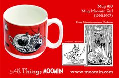 Moomin mug by Arabia Mug - Moomin Girl Produced: Illustrated by Tove Slotte and manufactured by Arabia. The original illustrations can be found in Moominsummer Madness. Moomin Mugs, Tove Jansson, Finland, History, Tableware, Trays, Madness, Cups, Universe