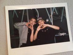 """[FANTAKEN] 130810 BWCW (Boy who cried wolf) Pop-up store - Chanyeol&Kai's heart sign (polaroid photo) Exo Kai, Park Chanyeol, Baekhyun, Exo Ot12, Chanbaek, Exo Red Velvet, Polaroid, Korean Babies, Kim Jongin"