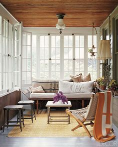 Gallery of beautiful sunroom ideas decor . A sunroom addition to your home is similar to a mix of a backyard patio and living room. Small Sunroom, Sunroom Office, Rustic Sunroom, Rustic Cottage, Cottage Style, Cottage Porch, Small Condo, Cozy Cottage, Sunroom Decorating
