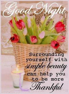 Good Night!  Surrounding yourself with simple beauty can help you to be more Thankful