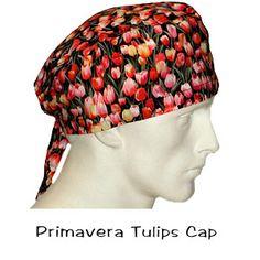 Surgical Scrub Cap Primavera Tulips 100% cotton made in the USA