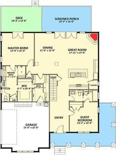 first floor - Plan Craftsman House Plan with L-Shaped Porch (Architect. - House Plans, Home Plan Designs, Floor Plans and Blueprints Best House Plans, Dream House Plans, Small House Plans, House Floor Plans, Dream Houses, Tiny Houses, Blue Houses, Farm Houses, Porches
