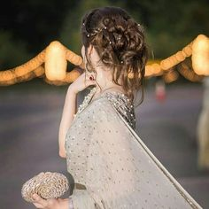 Messy Bun with braids hairstyle for Walima Cute Girl Poses, Cute Girl Pic, Girl Photo Poses, Girl Photography Poses, Girl Photos, Girl Pictures, Eye Pictures, Profile Pictures, Stylish Girl Images