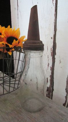 Antique Motor Oil Bottle with Spout  Full by cozycottagechic, $38.00