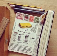 TRAVELER'S NOTEBOOK - love the postage stamps