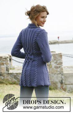 Bluebird Design jacket Bluebird pattern by DROPS design Knitted Coat Pattern, Knit Cardigan Pattern, Sweater Knitting Patterns, Knitting Designs, Crochet Patterns, Cable Knitting, Free Knitting, Drops Design, Hand Knitted Sweaters