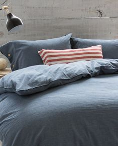The Cottage Shop Navy Bedding, Cover Boy, Fine Linens, Bedroom Inspo, Chambray, Duvet Covers, Pillow Cases, Cottage, Comfy