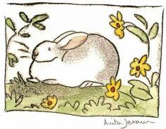 """( - p.mc.n.) """"White Rabbit with Yellow Flowers""""   Anita Jerum"""