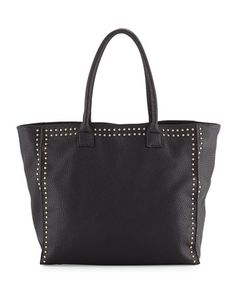 Studded-Trim+Faux-Leather+Tote+Bag,+Black+by+Neiman+Marcus+at+Neiman+Marcus+Last+Call.