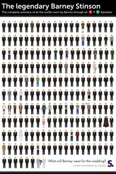 Too funny... Every outfit worn by Barney in How I Met Your Mother #himym #barneystinson #suitup
