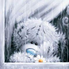 Tatty Teddy 💙, es regnet so arg! Tatty Teddy, Illustration Noel, Illustrations, Art D'ours, Teddy Bear Images, Blue Nose Friends, Bear Drawing, Theme Noel, Love Bear