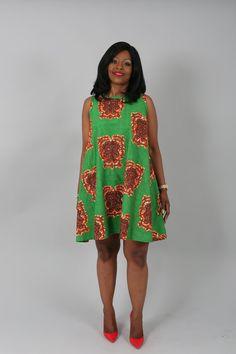 Vêtements africain : Araba vert réversible pull dress.african