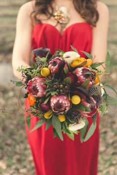 Protea Flowers For A Beautiful Fall Wedding Bouquet - A wild and wonderful bouquet, spotted at the Elizabeth Anne Designs blog.