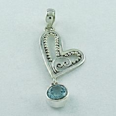 HEART SHAPED BLUE TOPAZ STONE 925 SEMIPRECIOUS STERLING SILVER PENDANT #SilvexImagesIndiaPvtLtd #Pendant