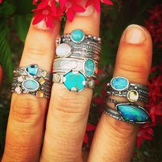 Summer time sky blues #lotsofrings #hammeredbywendy #rings #seatone #turquoise #londonblue #opal