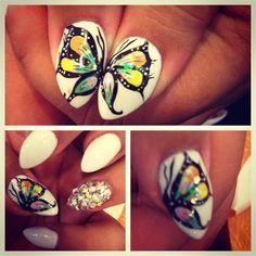 Two-fingered Buterfly by xosmitten - Nail Art Gallery nailartgallery.nailsmag.com by Nails Magazine www.nailsmag.com #nailart