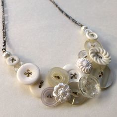 White Wedding Vintage Button Statement Necklace - Bridal Jewelry by buttonsoupjewelry, $32.00