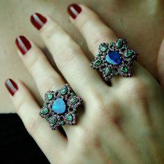 """Double Flora"" Opal Two Finger Flower Ring"
