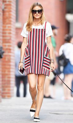 Make a pinafore dress feel fresh by styling a T-shirt underneath and adding an on-trend tie choker.