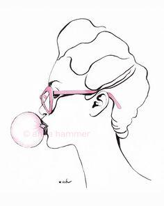 Bubble Gum  Print of Original Fashion por hmmrablefashion en Etsy