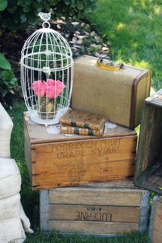 antique crates as a side table