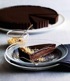 Triple Chocolate Praline Tart via Gourmet Traveller #recipe