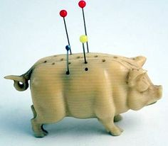 Antique Carved Ivory Pig Pin Keep.