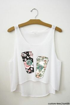 Cute Starbucks shirt I'd put them on a regular T~shirt Crop Top Outfits, Cute Casual Outfits, Summer Outfits, Teen Fashion Outfits, Cute Fashion, Girl Outfits, Fashion Wear, Style Fashion, Starbucks Shirt