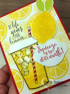 """Lemonade cup card featuring Stampin' Up! Lemon Zest and Coffee Cafe bundles. Marbled stamp background is great for """"swirling"""" lemonade in the cup. By Patty Bennett Cool Cards, Diy Cards, Card Making Inspiration, Making Ideas, Stampin Up Anleitung, Coffee Cards, Coffee Gifts, Stampin Up Catalog, Origami"""