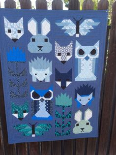 "Handmade baby quilt "" The Fancy Forest "" animal quilt by florenceanthemachine on Etsy Farm Animal Quilt, Elizabeth Hartman Quilts, Bird Quilt Blocks, Fox Quilt, Blue Quilts, Children's Quilts, Handmade Baby Quilts, Forest Friends, Sewing Projects"