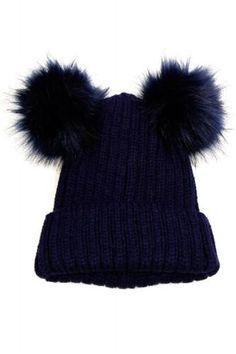 Double Fur Pom Pom Knit Beanie Hat - Navy - Dempsey & Gazelle