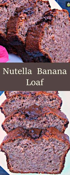 Nutella Banana Loaf. Delicious, moist ... and ..well... Nutella! #banana #cake #Nutella