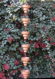 Rain Chain for the Garden Rain Chain Diy, Rain Chains, Glass Garden, Water Garden, Japanese Rain Chain, Rain Catcher, Garden Inspiration, Garden Ideas, Landscape Concept