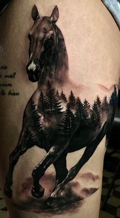 ▷▷ Tattoos of - HORSES 【Racing, wild, Indian, pure】 - wild horse tattoos - Cowgirl Tattoos, Western Tattoos, Pretty Tattoos, Love Tattoos, Body Art Tattoos, Creative Tattoos, Unique Tattoos, Small Tattoos, Forest Tattoos