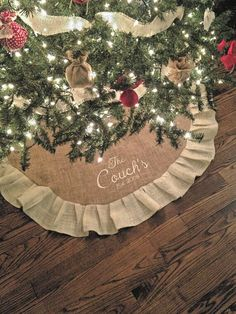 Monogrammed Christmas Burlap Tree Skirt 60 by SewCuteBabyCakes