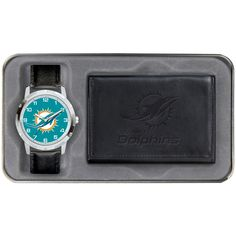 Miami Dolphins Leather Watch & Wallet Set - Black