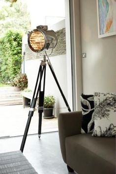 Nautical search tripod floor lamp for the home. Tribe Design Lighting.