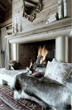 """42 Lovely Scandinavian Fireplace To Rock This Year. A stone fireplace design your pioneer ancestors would envy is the """"Multifunctional Fireplace."""" The hearth. Stone Fireplace Designs, Concrete Fireplace, Scandinavian Fireplace, Fireplace Mantle, Fireplace Ideas, Mantel Ideas, Urban Deco, Cozy House, Cozy Cottage"""